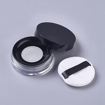 Reusable Plastic Loose Powder Bottles, Empty Bottles, DIY Makeup Powder Case, with Sponge Powder Puff, Mirror and Sifter, Black, 6.5x2.53cm, Capacity: 10g(MRMJ-WH0056-34B)