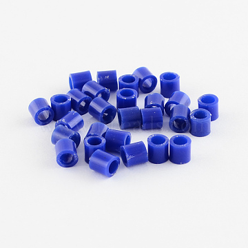 PE Fuse Beads, DIY Melty Beads, Tube, Medium Blue, 5x5mm, Hole: 3mm; about 8000pcs/500g(DIY-R013-08)