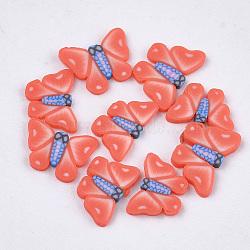 Cabochons en pâte polymère manuels, nail art décoration, papillon, tomate, 4.5~5.5x6~7x0.5~1 mm; environ 1000 PCs / sac(CLAY-S093-18H)