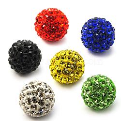 Perles de strass en argile polymère, Perles de boule pavé disco , Grade a, rond, pp 15, couleur mixte, 10mm, Trou: 1.8~2mm(X-RB-C1438-10mm-A)