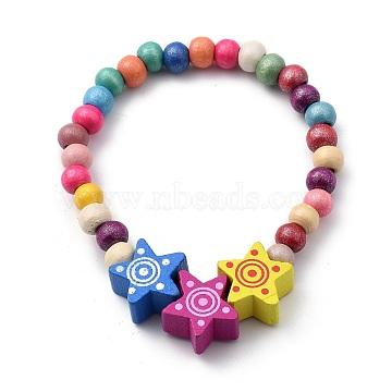 Kids Bracelets, Natural Wood Beaded Stretch Bracelets, Star, Colorful, Inner Diameter: 2 inches(5.1cm)(BJEW-JB05465-01)