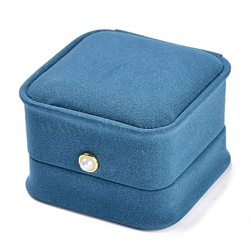Imitation Leather Ring Box, with Acrylic Pearl, for Wedding, Jewelry Storage Case, Square, Cornflower Blue, 2-1/2x2-1/2x1-7/8 inch(6.4x6.4x4.8cm)(LBOX-A002-01A)