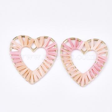 60mm Pink Heart Raffia Pendants