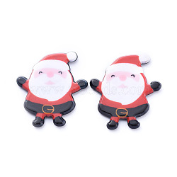 Painted Acrylic Cabochons, for Christmas Day, Santa Claus, Red, 26x24x2.5mm(X-KY-D011-08)