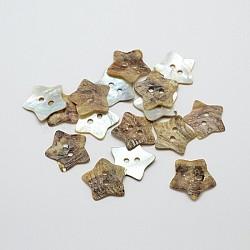 2 -hole mère star de boutons de nacre, bouton shell akoya, chameau, 19x1~2mm, trou: 2 mm; environ 432 PCs / sachet (SHEL-N033-03)