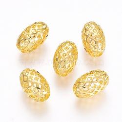 Rack Plating Brass Filigree Beads, Hollow, Oval, Golden, 12x8mm, Hole: 3.5mm(X-KK-D530-08G)