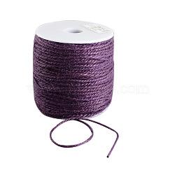 Cordon de chanvre coloré, chaîne de chanvre, ficelle de chanvre, 3 pli, pour la fabrication de bijoux, violet, 2 mm; 100 m / rouleau(OCOR-R008-2mm-014)