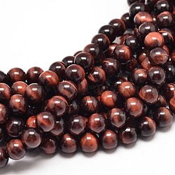 Natural Red Tiger Eye Round Bead Strands, 4mm, Hole: 1mm; about 91pcs/strand, 15inches