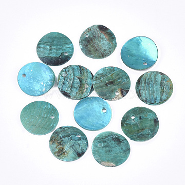 Spray Paint Natural Akoya Shell Pendants, Mother of Pearl Shell Pendants, Flat Round, DarkTurquoise, 15x1~3mm, Hole: 1.5mm(SHEL-S274-75C-10)