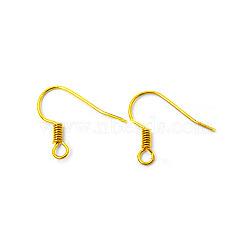 Laiton doré crochets de fil boucle d'oreille, sans nickel  , 17mm, trou: 1.5 mm; broches: 0.7 mm(X-KK-Q363-G-NF)