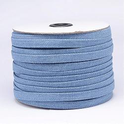 cordon en coton denim, cornflowerblue, 10x2 mm; environ 50 verges / rouleau (150 pieds / rouleau)(NWIR-N011-02)