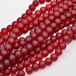 "Chapelets de perles en verre transparente  , mat, rond, DarkRed, 14mm, trou: 1.3~1.6mm; environ 58 pcs/chapelet, 31.4""(X-GLAA-S031-14mm-14)"
