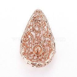 Pendentifs en laiton, pour la moitié de perles percées, goutte , or rose, 19.5x11.5x6.5mm, trou: 3x2 mm; diamètre intérieur: 9.5 mm; goupille: 0.8mm(KK-L177-18RG)