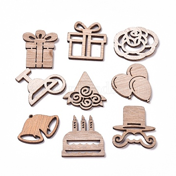 Laser Cut Wood Shapes, Unfinished Wooden Embellishments, Poplar Wood Cabochons, Party Decoration Shapes, BurlyWood, 20.5~29.5x24.5~31.5x2.5mm(X-WOOD-L009-10)