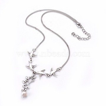 Tibetan Style Alloy Branch and Leaves Pendant Necklaces, Iron Chains with Bird Links, Grade A Pearl Beads and Alloy Lobster Claw Clasps, Swallow, Antique Silver and Platinum, Seashell Color, 18 inches(X-NJEW-JN00751)