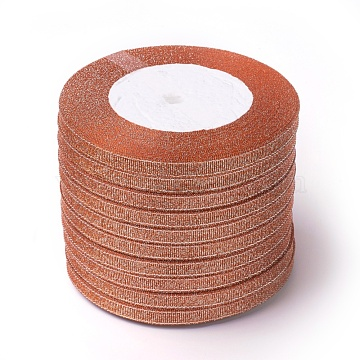 Glitter Metallic Ribbon, Sparkle Ribbon, with Silver Metallic Cords, Valentine's Day Gifts Boxes Packages, Coral, 1/4inch(6mm); about 33yards/roll(30.1752m/roll), 10rolls/group(RSC6mmY-018)