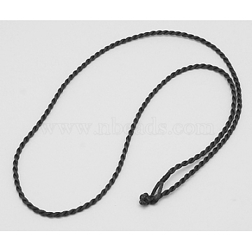 Nylon Necklace Making Cord, Black, Size: about 2mm in diameter, 18 inches(X-NCOR-H001-13)