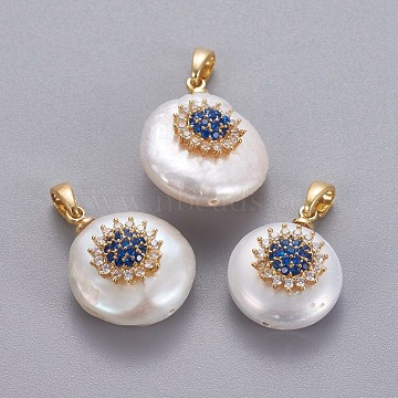 Natural Cultured Freshwater Pearl Pendants, with Brass Micro Pave Cubic Zirconia Findings, Nuggets with Flower, Long-Lasting Plated, Golden, Blue, 17~27x12~16x6~12mm, Hole: 4x2.5mm(KK-L187-02A)
