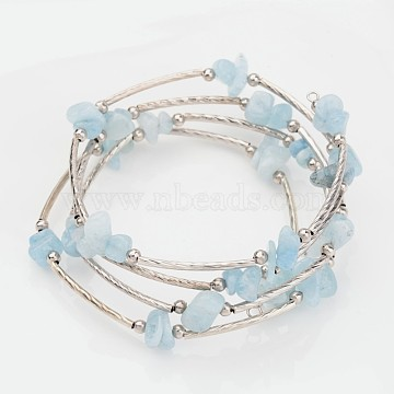Four Loops Natural Aquamarine Beaded Wrap Bracelets, with Brass Tube Beads and and Steel Memory Wire, 56mm(X-BJEW-JB02332-01)