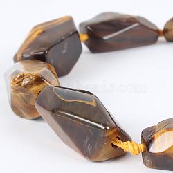 """Tigre naturel brins pierre précieuse oeil de perles, Nuggest, 22~38x15~30x8~20mm, trou: 2mm; environ 10~17 pcs/chapelet, 16.54""""(G-E218-07)"""