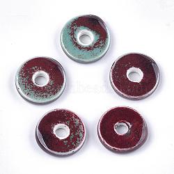 Handmade Porcelain Beads, Fancy Antique Glazed Porcelain, Flat Round/Disc, Brown, 21~22x6mm, Hole: 5mm(X-PORC-S498-54E)