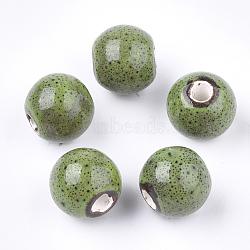 Handmade Porcelain Beads, Fancy Antique Glazed Porcelain, Round, YellowGreen, 10.5~11x9.5mm, Hole: 2.5mm(X-PORC-Q262-01D)
