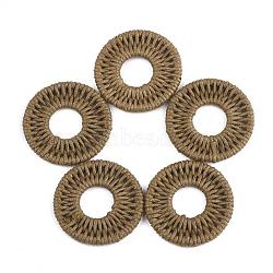 подвески из полиэстера, с железом выводы, плоские круглые, шоколад, 31~32x3 mm(FIND-T039-16D)
