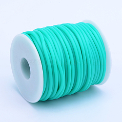 Hollow Pipe PVC Tubular Synthetic Rubber Cord, Wrapped Around White Plastic Spool, MediumTurquoise, 3mm, Hole: 1.5mm; about 25m/roll(RCOR-R007-3mm-07)