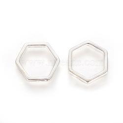 925 monture de perles en argent sterling, sculpté avec 925, hexagone, argenterie, 14x14x2mm, trou: 1.2 mm; diamètre intérieur: 11 mm(STER-L059-01S)