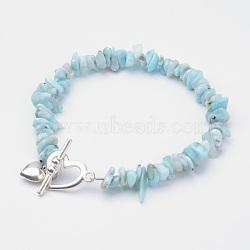 """Braguilles en perles larimar naturelles, avec alliage fermoirs toggle, cœur, 8-1/4"""" (20.8 cm)(X-BJEW-JB02681-01)"""