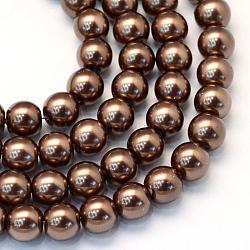 """Chapelets de perles rondes en verre peint, marron, 8~9mm, trou: 1mm; environ 105 pcs/chapelet, 31.4""""(X-HY-Q330-8mm-52)"""