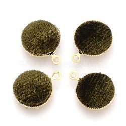 Подвесные велюровые подвески, с латунной фурнитурой , плоско-круглые, золотые, кофе, 14x11x3 мм, отверстие : 1 мм(WOVE-R101-B01)