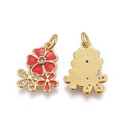 pendentifs en laiton, avec de la zircone cubique et de l'émail, fleur, or, rouge, 15.5~16x12.5x2.7~2.8 mm, trou: 3.2 mm(KK-E773-01B-G)