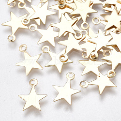 Iron Charms, for DIY Jewelry Making, Nickel Free, Star, Light Gold, 10x8x0.5mm, Hole: 1mm (X-IFIN-T007-18KC-NF)
