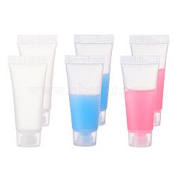 Bouteille en plastique, tuyaux de maquillage, tube nettoyant pour le visage, récipient de crème pour le visage, bouteille réutilisable de voyage portatif, blanc, 6.6x1.7 cm; capacité: 10 ml(MRMJ-WH0037-01A)
