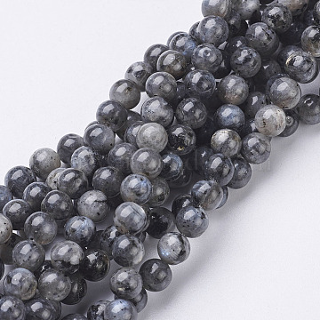 Natural Larvikite/Black Labradorite Beads Strands, Round, about 6mm, Hole: 0.8mm, about 63pcs/strand, 15.5 inches(X-GSR6mmC128)