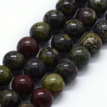 Natural Bloodstone Beads Strands, Round, 12mm, Hole: 1.2mm; about 32pcs/strand,  14.76inches(37.5cm)(G-I199-21-12mm)