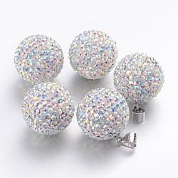 Breloques de cristal autrichien, avec fermoirs d'argent 925, rond, ab_crystal Aurore Boréale, environ 18 mm de diamètre, Trou: 3.5mm(SR18MM-001AB)