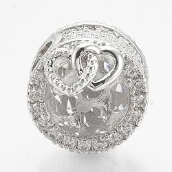 laiton zircone cubique perles européennes, grandes perles de trou, plat et circulaire avec coeur, platine, effacer, 12x14 mm, trou: 4.5 mm(ZIRC-T006-35P-08)