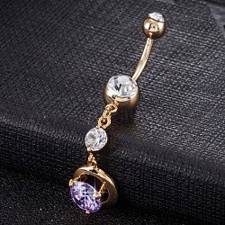 Piercing Jewelry, Eco-Friendly Brass Cubic Zirconia Navel Ring, Belly Rings, with Use Stainless Steel Findings, Real 18K Gold Plated, Round, Purple, 48x11mm(AJEW-EE0003-27D)