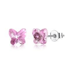 925 boucles d'oreille en argent sterling, avec le cristal autrichien, papillon, sculpté 925, platine, 223 _light rose, 5x5 mm(EJEW-BB30547-A)