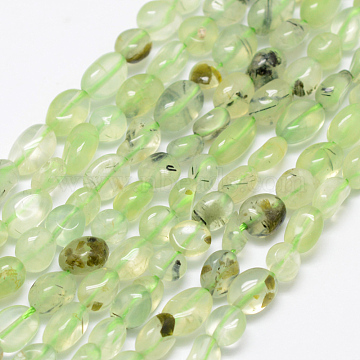 Natural Prehnite Beads Strands, Nuggets, 5~10x4~6mm, Hole: 1mm; about 15.3inches(39cm)(G-P406-46)