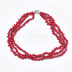colliers à plusieurs rangs de perles de corail de bambou marin (imitation corail), avec fermoir à ressort en laiton, rouge, 20.4 (52 cm)(NJEW-S414-50)