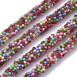 PVC Tubular Synthetic Rubber Cord, Hollow Pipe, with Seed Beads, Colorful, 7mm, Hole: 1.6mm; about 50m/bundle(RCOR-T002-04)