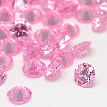 Cubic Zirconia Cabochons, Grade A, Faceted, Diamond, Pearl Pink, 4x2.5mm(ZIRC-M002-4mm-005)