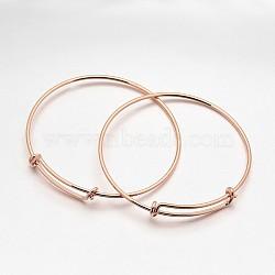 Регулируемые манжеты латуни делает, розовое золото , 64 мм(BJEW-E218-01RG)