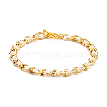 Aluminium Curb Chain Bracelets, with ABS Plastic Imitation Pearl and Alloy Toggle Clasps, Light Gold, 7-7/8 inches(20cm)(BJEW-JB05339)