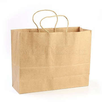 Pure Color Kraft Paper Bags, with Handles, Gift Bags, Shopping Bags, Brown Paper Bag, Rectangle, BurlyWood, 25x32x11cm(AJEW-G019-10A)