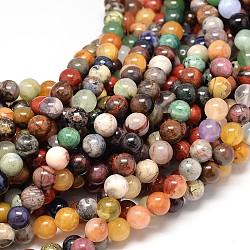 """Pierre naturelle assortis rondes chapelets de perles, 8mm, trou: 1mm; environ 48 pcs/chapelet, 15.7""""(G-P075-31-8mm)"""