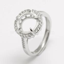 pièces d'anneau de doigt en argent sterling réglables 925, avec zircons, plat rond, platine, plateau: 10 mm; 16 mm(STER-P033-28P)
